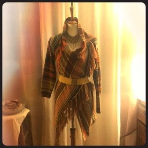 Sweaters - Adjustable knit cardigan- fall colors- Size S/M/L